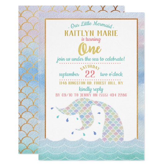 Chic Rainbow Watercolor Mermaid 1st Birthday Invitation