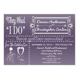 Chic Reception Only Chalkboard Invitation