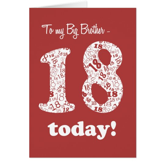 Chic Red 18th Birthday Card For Big Brother Zazzle