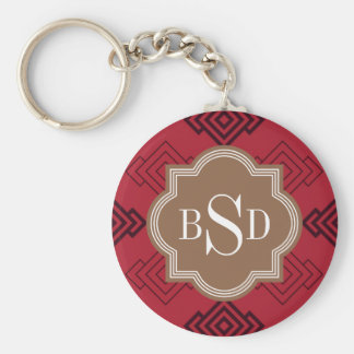 Chic red abstract geometric pattern keychain