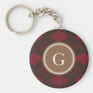 Chic red abstract geometric pattern monogram key chains