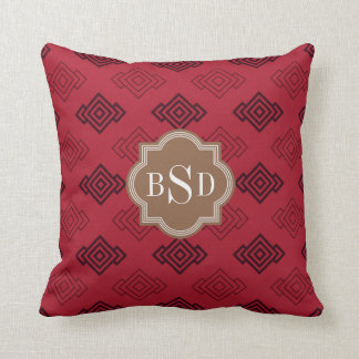 Chic red abstract geometric pattern throw pillow