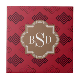 Chic red abstract geometric pattern ceramic tiles