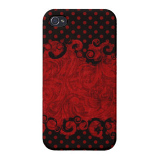Chic  Red and Black Damask Cover For iPhone 4