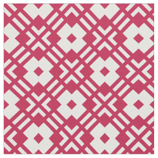 Chic red and white abstract geometric pattern fabric