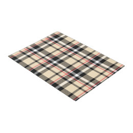Chic Red Beige Black Squares Tartan Plaid Pattern Doormat