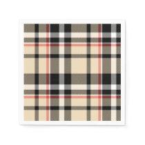 Chic Red Beige Black Squares Tartan Plaid Pattern Napkin