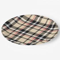 Chic Red Beige Black Squares Tartan Plaid Pattern Paper Plate