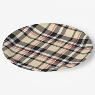 Chic Red Beige Black Squares Tartan Plaid Pattern Paper Plate