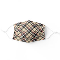 Chic Red Beige Black White Tartan Plaid Pattern Adult Cloth Face Mask