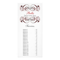 chic red, black and white Services rack card