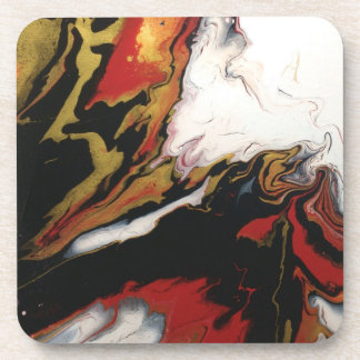 Chic Red Black & Gold Abstract Coasters