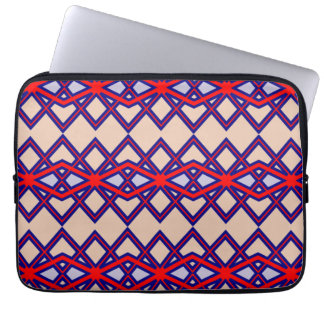 Chic Red & Blue Diamond Flower Laptop Sleeves