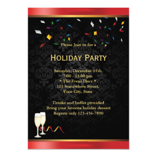Chic Red Border Corporate Holiday Party Invitation