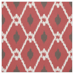 Chic red brown white ikat tribal diamond pattern fabric