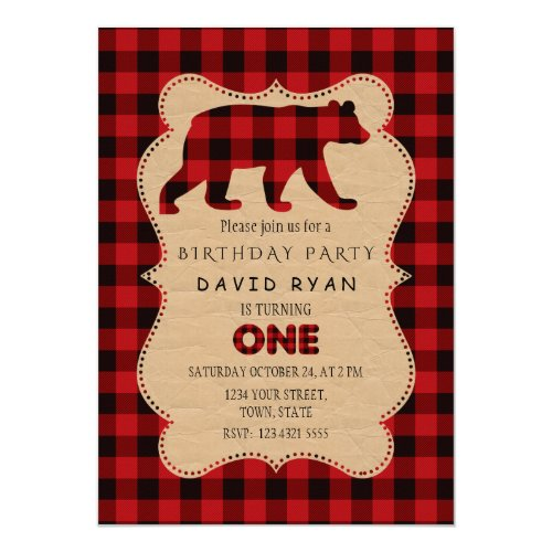 Chic Red Buffalo Flannel Up Plaid Birthday ONE Invitation