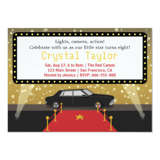 Chic Red Carpet Glam Hollywood Party Girl Birthday 4.5x6.25 Paper Invitation Card