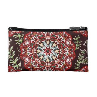 Chic red circular Flower Pattern Makeup Bag