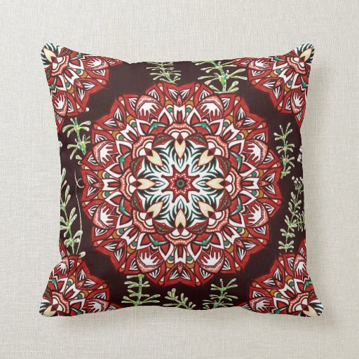 Round Red Decorative Pillows : Chic red circular Flower Pattern Throw Pillow Zazzle