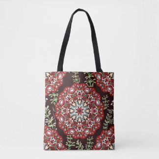 Chic red circular Flower Pattern Tote Bag