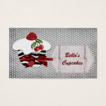 chic red cupcake business Cards