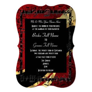 Chic red damask gold elegant formal wedding card
