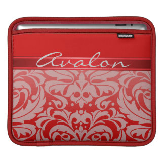 Chic Red Damask Red Ribbon Ipad Sleeve