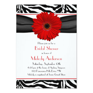 "Chic Red Gerber Daisy Zebra Print Bridal Shower 4.5"" X 6.25"" Invitation Card"