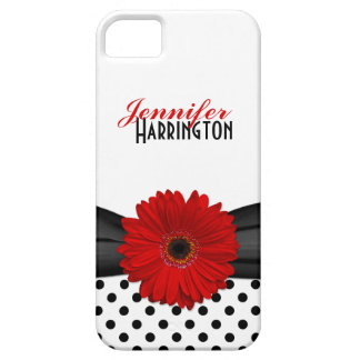 Chic Red Gerbera Daisy Polka Dot iPhone 5 Case