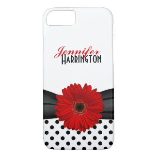 Chic Red Gerbera Daisy Polka Dot iPhone 7 Case