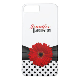 Chic Red Gerbera Daisy Polka Dot iPhone 7 Plus Case