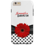 Chic Red Gerbera Daisy Polka Dot Tough iPhone 6 Plus Case