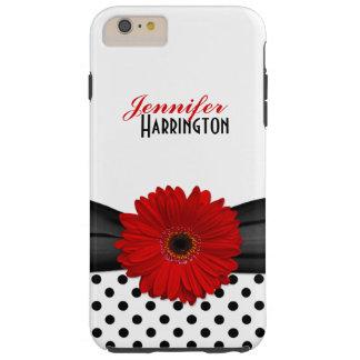 Chic Red Gerbera Daisy Polka Dot Tough iPhone 6 Plus Case
