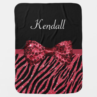 Chic Red Glitter Zebra Print Luxe Bow With Name Baby Blankets