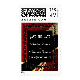 Chic red gold and black save the date postage
