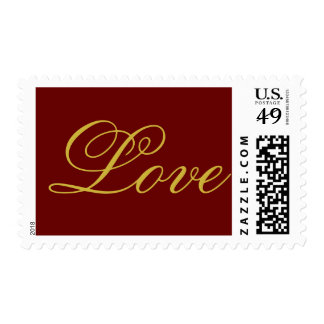 Chic Red Gold Calligraphic Love Wedding Postage