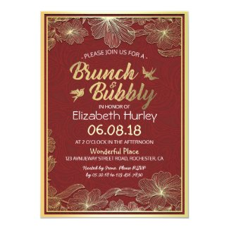Chic Red Gold Floral Brunch & Bubbly Bridal Shower Card