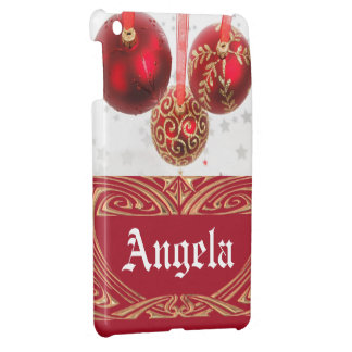 Chic Red Gold Glitter Christmas Balls Custom Name Case For The iPad Mini
