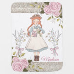 Chic Red Hair Girl Vintage Victorian Pink Roses Baby Blanket
