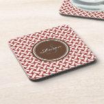 Chic red herringbone geometric patterns monogram drink coasters