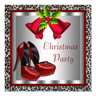 Chic Red High Heel Shoes Christmas Party Card
