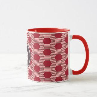 Chic red honeycomb geometric patterns monogram mug