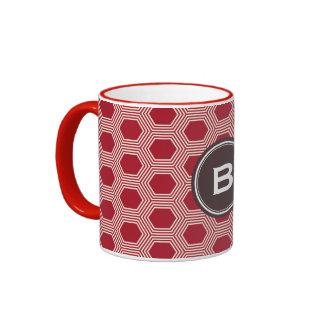 Chic red honeycomb geometric patterns monogram ringer mug