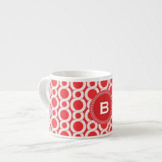 Chic red interlocking circle pattern monogram espresso cup