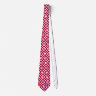 Chic red interlocking pattern monogram tie
