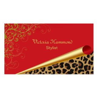 Chic Red & Jaguar Print Business Card
