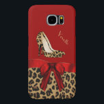 "Chic Red &amp; Jaguar Print Samsung Galaxy S6 Case<br><div class=""desc"">Fashionable Samsung Galaxy S6 case done in red, on the top and a spotted brown and black jaguar print, on the bottom. Graphics of a red satin ribbon and bow decorates the middle and a pair of jaguar print stiletto heels are on the top half. Personalize the tan text for...</div>"