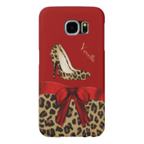 Chic Red & Jaguar Print Samsung Galaxy S6 Case