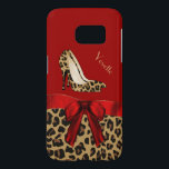 "Chic Red &amp; Jaguar Print Samsung Galaxy S7 Case<br><div class=""desc"">Fashionable Samsung Galaxy S7 case done in red, on the top and a spotted brown and black jaguar print, on the bottom. Graphics of a red satin ribbon and bow decorates the middle and a pair of jaguar print stiletto heels are on the top half. Personalize the tan text for...</div>"