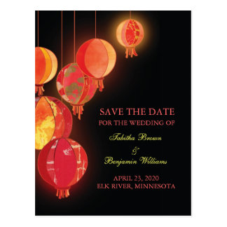 Chic Red Lanterns Wedding Save the Date Postcard
